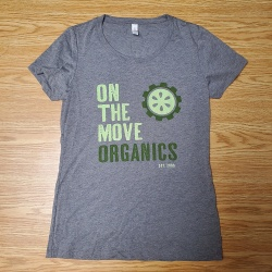 On The Move Organics, Women's Grey T-Shirts with Green Logo