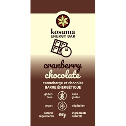Kosuma, Cranberry Chocolate Bar (Vegan, Wheat Free)